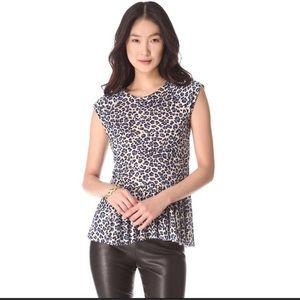 Rebecca Taylor Blue Cheetah Leopard Peplum Blouse